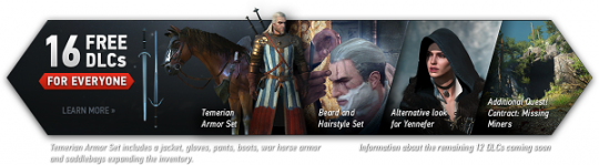 Witcher 3 will feature 16 FREE DLC installments.