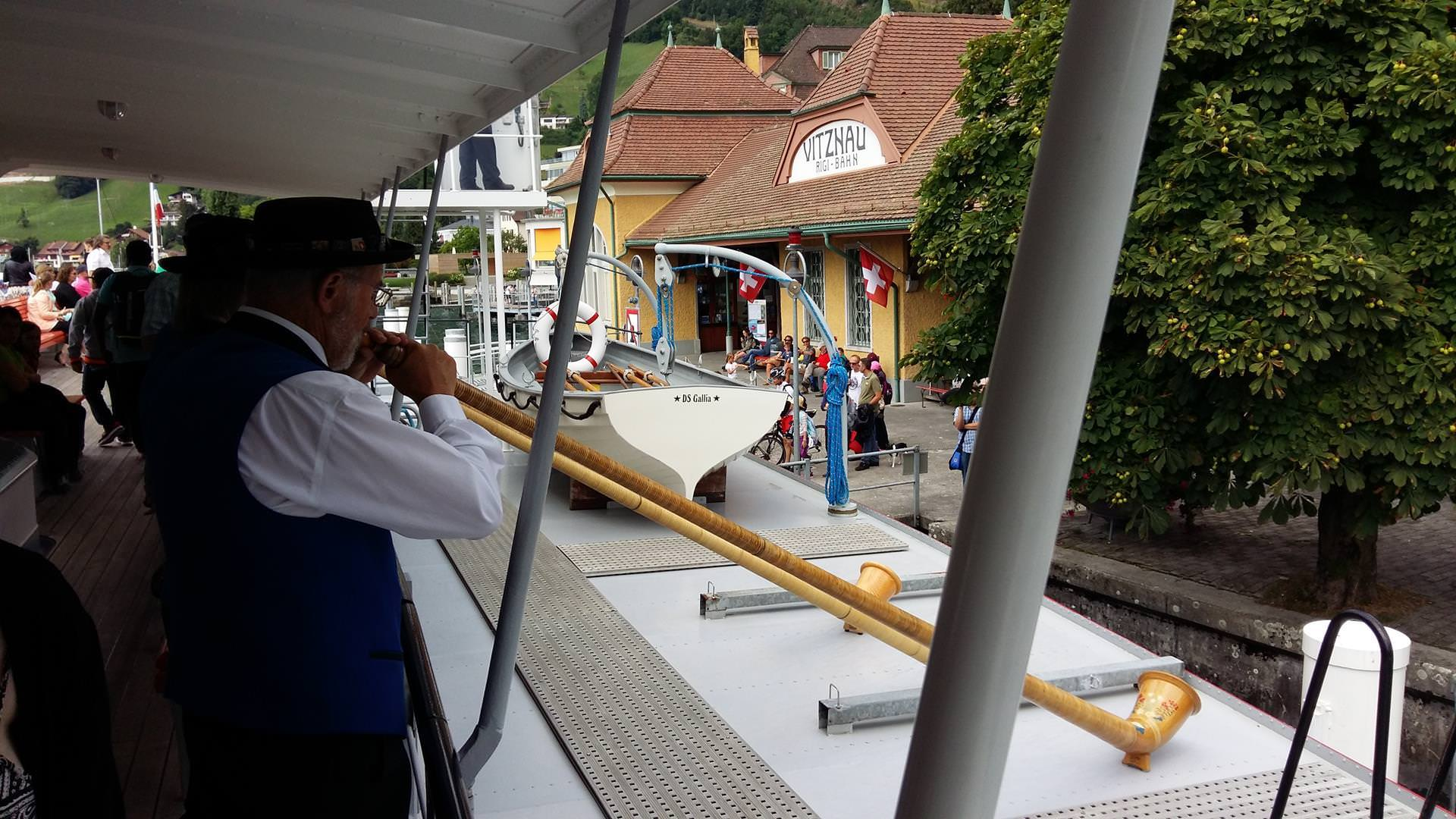 Just after boarding the boat. I believe they were playing the Swiss national anthem on their Alphorns...
