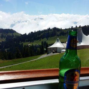 A beer for the ride up to Rigi via cogwheel train.