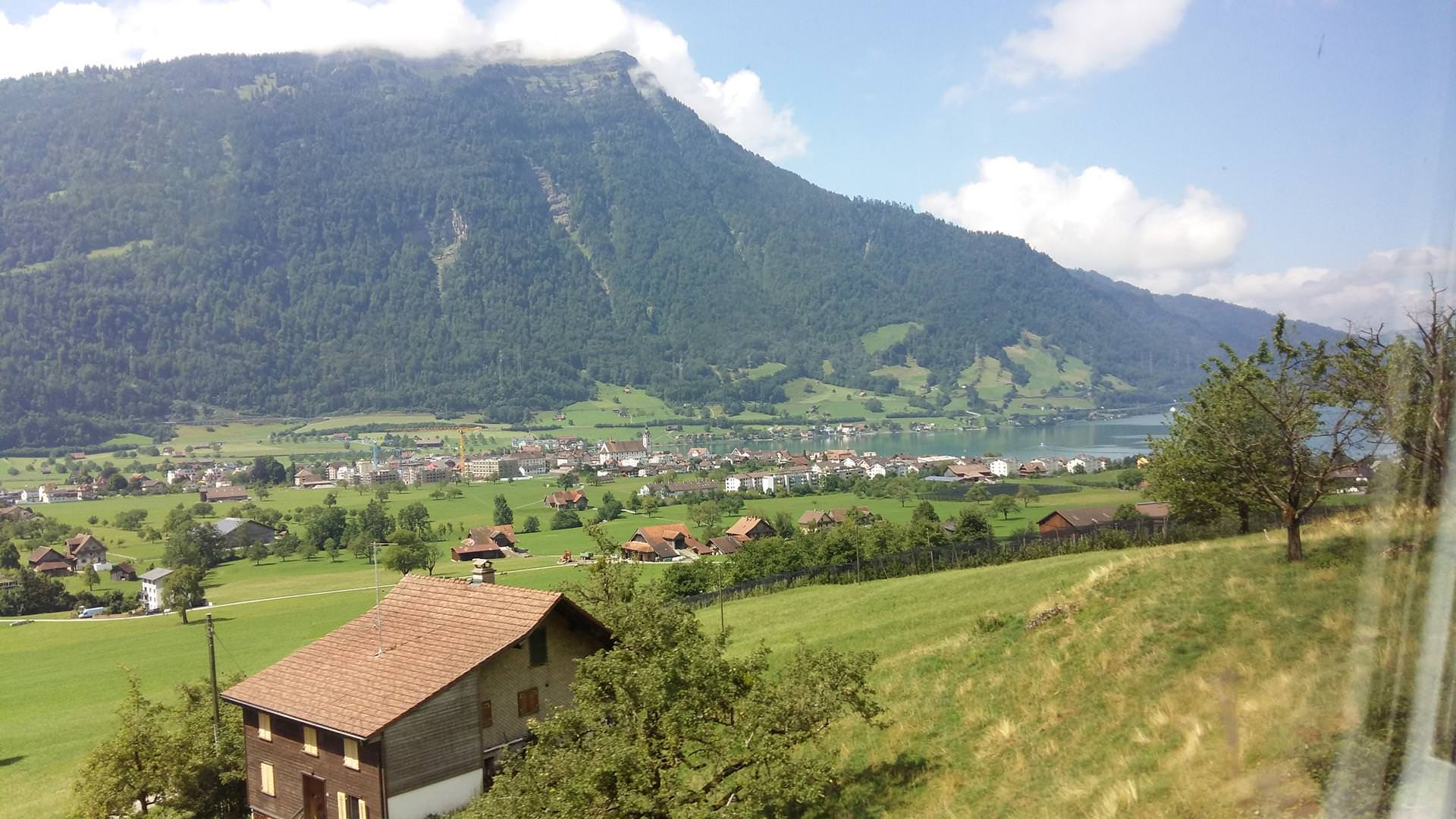 The view of Goldau on the way. Goldau is located on a lake between the mountains: Rossberg and Rigi.