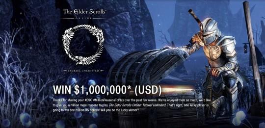 Win 1,000,000 USD via Elder Scrolls Online!