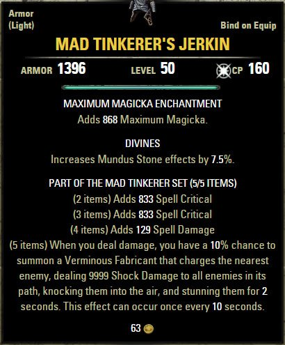 ESO Sets Build Guide: Mad Tinkerer - Rolling Thunder