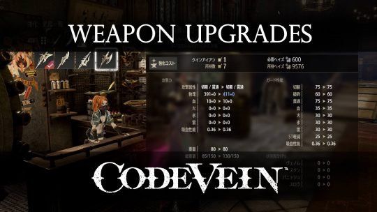 Code Vein confirms Weapons and Armor Upgrades