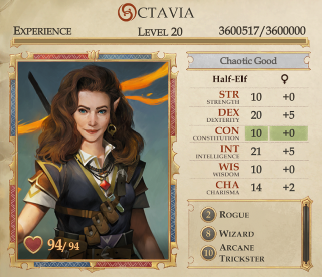 Pathfinder Kingmaker Builds: Octavia the Arcane Trickster