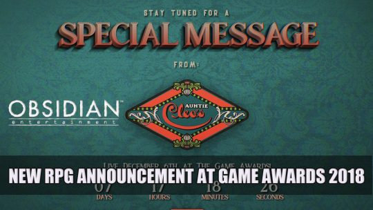 Obsidian Entertainment to Reveal New Game at The Game Awards 2018
