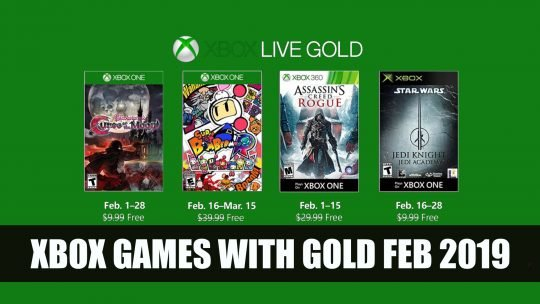 Xbox Games with Gold for February Includes Bloodstained, Assassin's Creed Rogue and Star Wars Jedi Knight