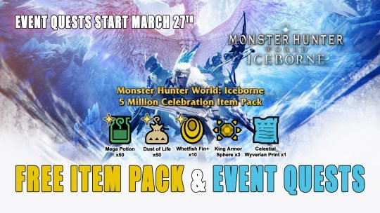 Monster Hunter World Iceborne Celebrates 5 Million Units Shipped; Free Item Pack and Event Quests