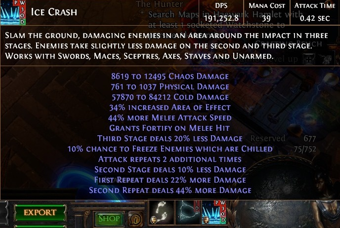 Ice Crash Warzerker Ready To Slam Path Of Exile Starter Build Harvest League Fextralife 30% increased armour while you have fortify 10% increased effect of fortify on you 10 hardened scars. path of exile starter build harvest