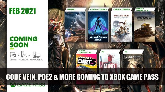 Xbox Game Pass February Games Announced Including Code Vein and Pillars of Eternity 2