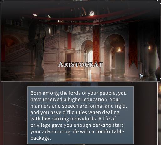 Solasta Aristocrat Background