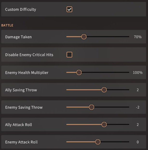 Solasta Custom Difficulty