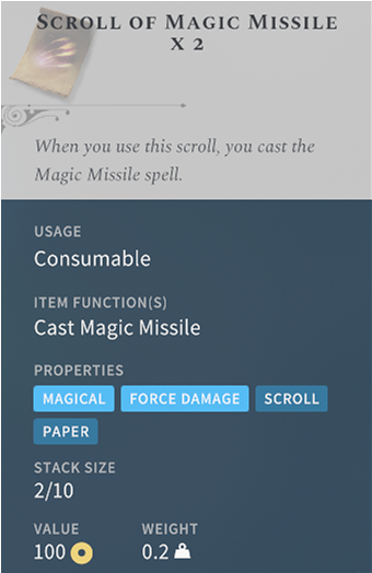 Solasta-Scroll-of-Magic-Missile