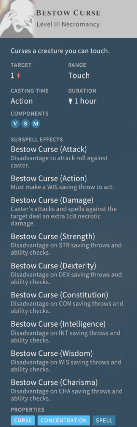 Solasta Bestow Curse