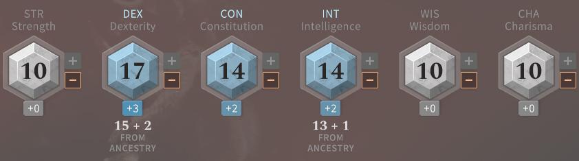 Solasta Rogue Ability Scores Level 1