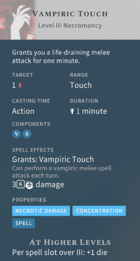 Solasta Vampiric Touch