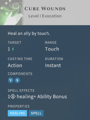 Solasta Cure Wounds Spell