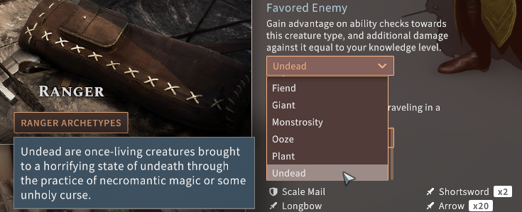 Solasta Undead Favored Enemy