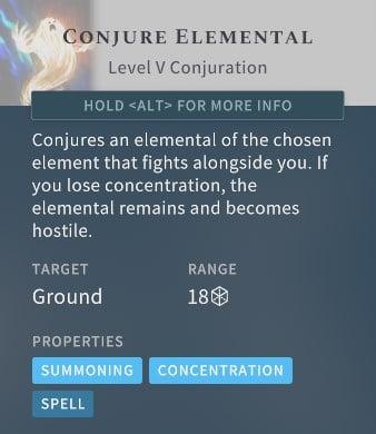 Solasta Conjure Elemental Spell