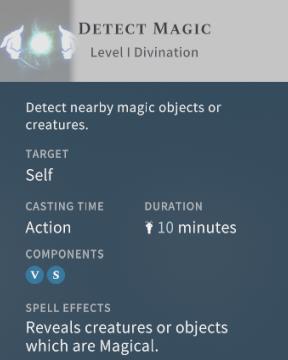 Solasta Detect Magic Spell