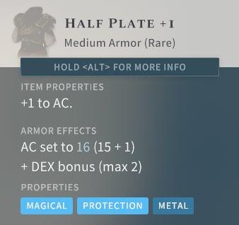 Solasta Half Plate +1 Medium Armor