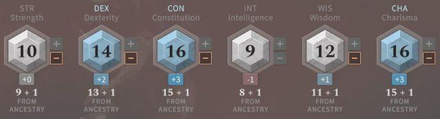 Solasta Sorcerer Ability Scores at Level 1