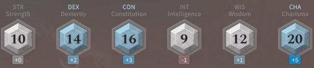Solasta Sorcerer Ability Scores at Level 8