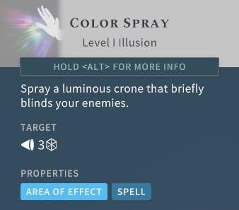 Solasta Color Spray Spell