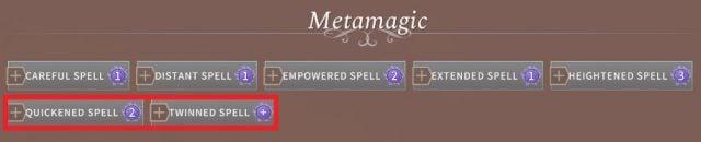 Solasta Sorcerer Metamagic Quickened Spell and Twinned Spell