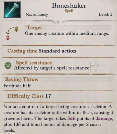 Camellia Boneshaker Spell Pathfinder WotR