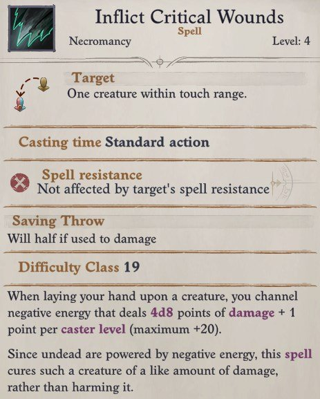 Camellia Inflict Critical Wounds Spell Pathfinder WotR