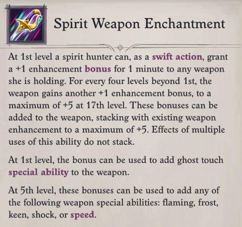 Camellia Spirit Weapon Enchantment Pathfinder WotR