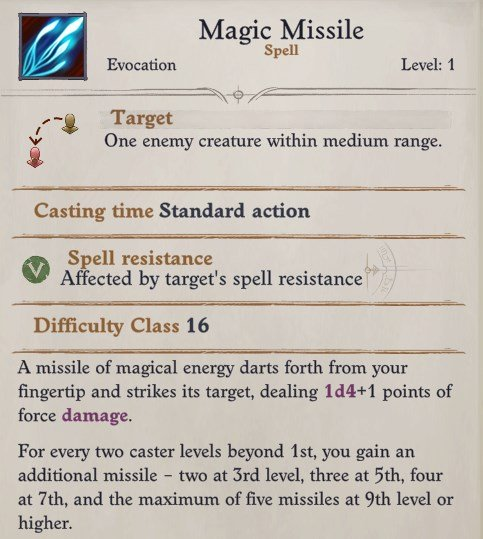 Magic Missile Pathfinder Wrath of the Righteous