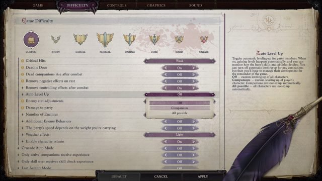 Pathfinder WotR Companions and Difficulty Settings Auto Level Up