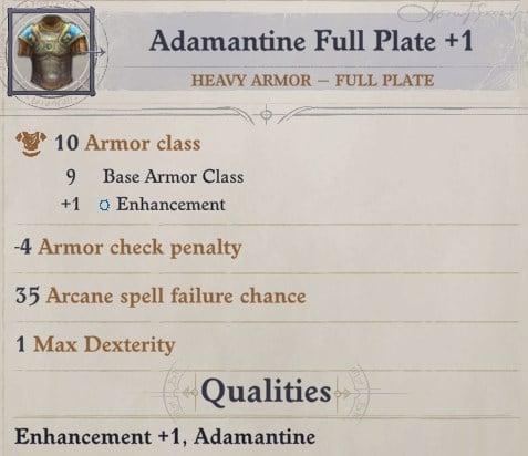 Adamantine Full Plate +1 Heavy Armor Sosiel Pathfinder Wrath of the Righteous Build