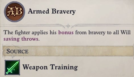 Armed Bravery Under Weapon Training for the Fighter Class Wenduag Companion Build Pathfinder WotR