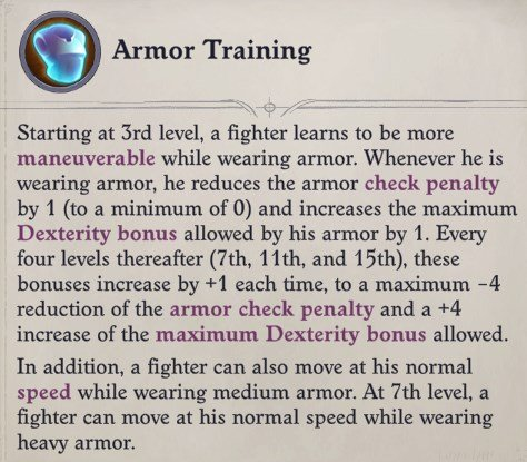 Armor Training Feature for the Fighter Class Wenduag Companion Build Pathfinder WotR