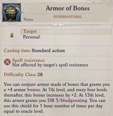 Armor of Bones Revelation Daeran Pathfinder Wrath of the Righteous Build