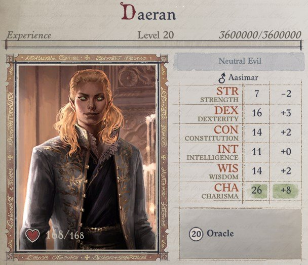 Attributes at Level 20 Daeran Pathfinder Wrath of the Righteous Build