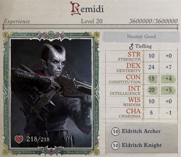 Attributes at Level 20 Eldritch Archer Magus Pathfinder Wrath of the Righteous Build