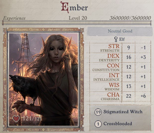 Attributes at Level 20 Ember Build Guide Pathfinder WotR