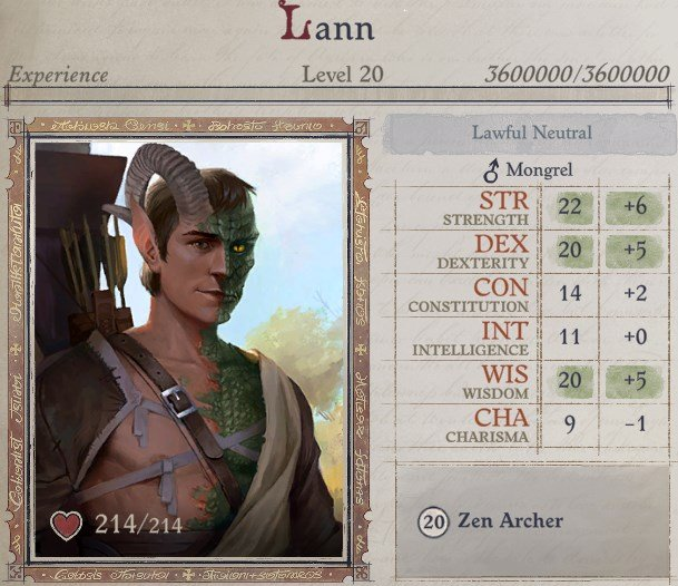 Attributes at Level 20 Lann Companion Build Pathfinder WotR