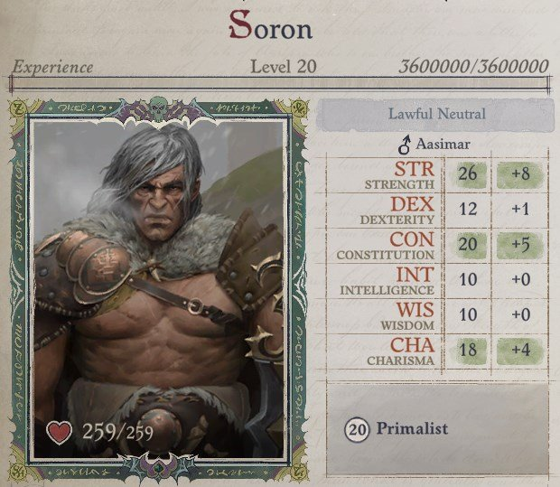 Attributes at Level 20 Primalist Bloodrager Pathfinder Wrath of the Righteous Build