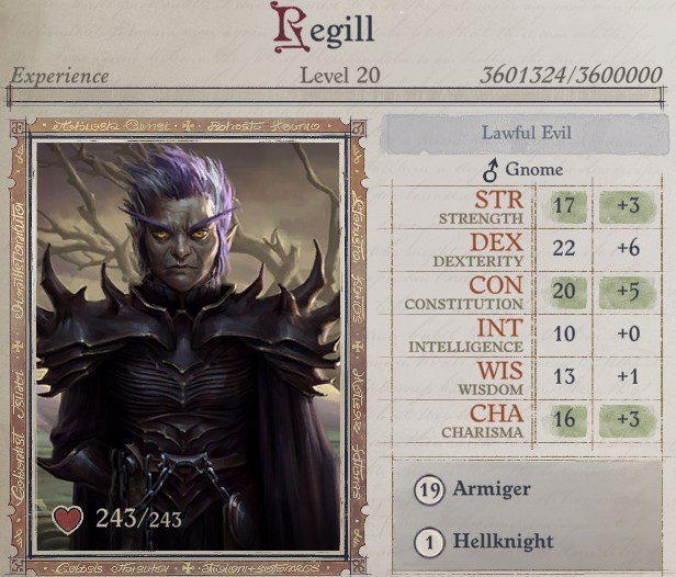 Attributes at Level 20 Regill Pathfinder Wrath of the Righteous Build
