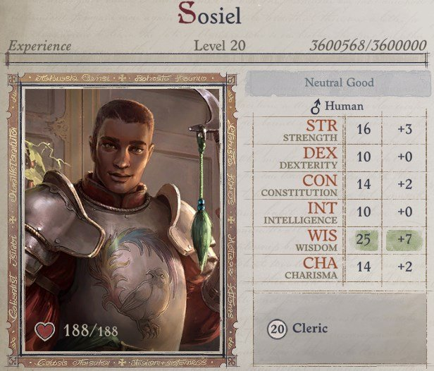 Attributes at Level 20 Sosiel Pathfinder Wrath of the Righteous Build