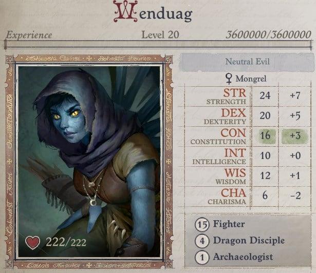 Attributes at Level 20 Wenduag Companion Build Pathfinder WotR