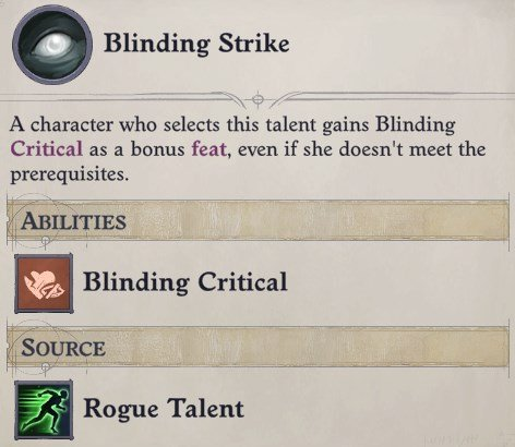 Blinding Strike Rogue Talent Delamere Pathfinder Wrath of the Righteous Build