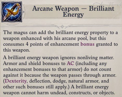 Brilliant Energy Eldritch Archer Magus Pathfinder Wrath of the Righteous Build