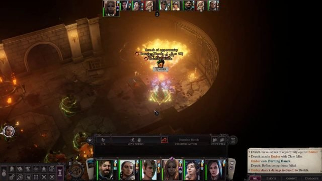 Burning Hands Spell in Combat Ember Companion Build Pathfinder WotR