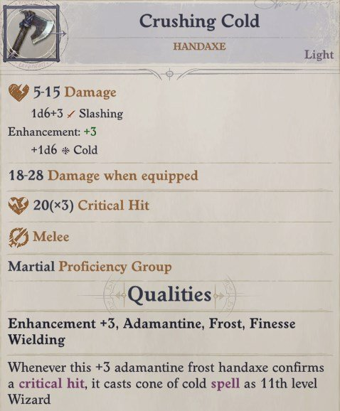 Crushing Cold Handaxe Greybor Pathfinder Wrath of the Righteous Build