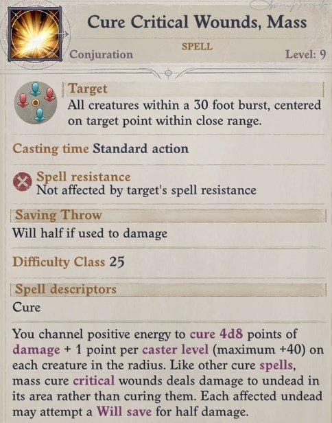 Cure Wounds Spell Ember Companion Build Pathfinder WotR
